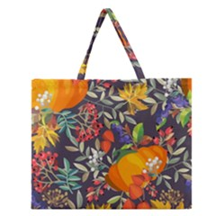 Autumn Flowers Pattern 12 Zipper Large Tote Bag by tarastyle