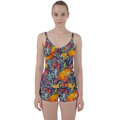 Autumn Flowers Pattern 12 Tie Front Two Piece Tankini