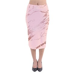 Luxurious Pink Marble 3 Velvet Midi Pencil Skirt