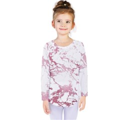 Luxurious Pink Marble 4 Kids  Long Sleeve Tee