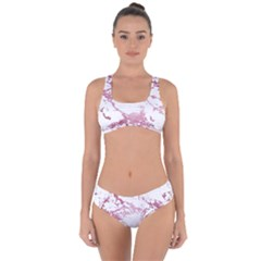 Luxurious Pink Marble 4 Criss Cross Bikini Set by tarastyle