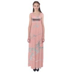 Luxurious Pink Marble 6 Empire Waist Maxi Dress