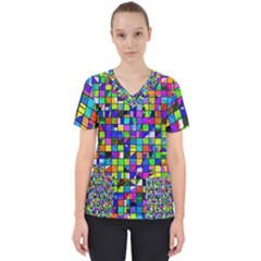 Colorful Squares Pattern                              Women s V Neck Scrub Top