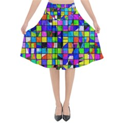 Colorful Squares Pattern                          Flared Midi Skirt by LalyLauraFLM