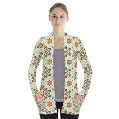 Stars And Other Shapes Pattern                         Women s Open Front Pockets Cardigan