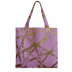 Modern,abstract,hand Painted, Gold Lines, Pink,decorative,contemporary,pattern,elegant,beautiful Zipper Grocery Tote Bag by 8fugoso
