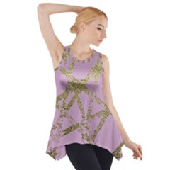 Modern,abstract,hand Painted, Gold Lines, Pink,decorative,contemporary,pattern,elegant,beautiful Side Drop Tank Tunic by 8fugoso
