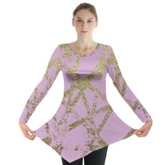 Modern,abstract,hand Painted, Gold Lines, Pink,decorative,contemporary,pattern,elegant,beautiful Long Sleeve Tunic  by 8fugoso