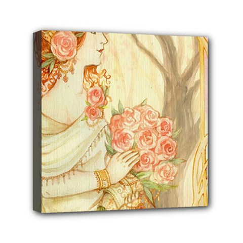 Beautiful Art Nouveau Lady Mini Canvas 6  X 6