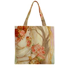Beautiful Art Nouveau Lady Zipper Grocery Tote Bag by 8fugoso