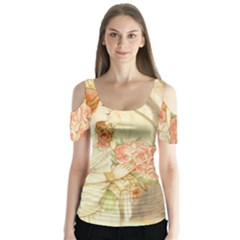 Beautiful Art Nouveau Lady Butterfly Sleeve Cutout Tee  by 8fugoso
