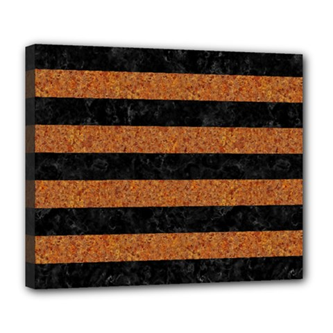 Stripes2 Black Marble & Rusted Metal Deluxe Canvas 24  X 20   by trendistuff