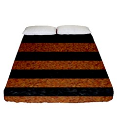Stripes2 Black Marble & Rusted Metal Fitted Sheet (queen Size) by trendistuff