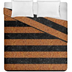Stripes2 Black Marble & Rusted Metal Duvet Cover Double Side (king Size) by trendistuff