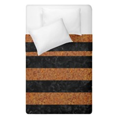 Stripes2 Black Marble & Rusted Metal Duvet Cover Double Side (single Size) by trendistuff