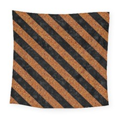 Stripes3 Black Marble & Rusted Metal Square Tapestry (large) by trendistuff