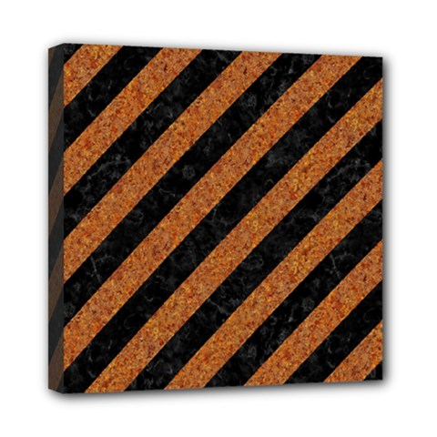 Stripes3 Black Marble & Rusted Metal (r) Mini Canvas 8  X 8  by trendistuff