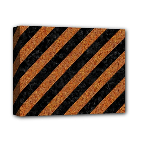 Stripes3 Black Marble & Rusted Metal (r) Deluxe Canvas 14  X 11  by trendistuff