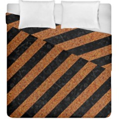 Stripes3 Black Marble & Rusted Metal (r) Duvet Cover Double Side (king Size) by trendistuff