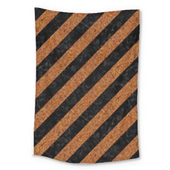 Stripes3 Black Marble & Rusted Metal (r) Large Tapestry by trendistuff