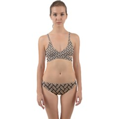 Brick2 Black Marble & Sand Wrap Around Bikini Set