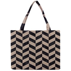Chevron1 Black Marble & Sand Mini Tote Bag by trendistuff