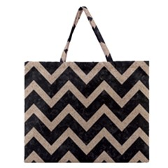 Chevron9 Black Marble & Sand (r) Zipper Large Tote Bag by trendistuff