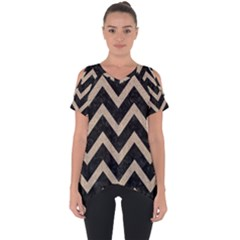 Chevron9 Black Marble & Sand (r) Cut Out Side Drop Tee