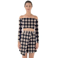 Circles1 Black Marble & Sand (r) Off Shoulder Top With Skirt Set