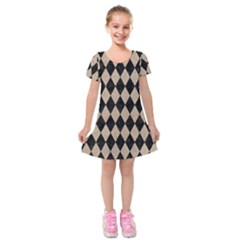 Diamond1 Black Marble & Sand Kids  Short Sleeve Velvet Dress
