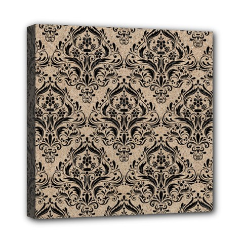 Damask1 Black Marble & Sand Mini Canvas 8  X 8
