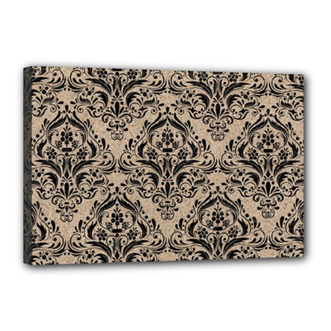 Damask1 Black Marble & Sand Canvas 18  X 12  by trendistuff