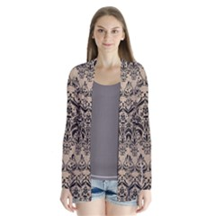 Damask1 Black Marble & Sand Drape Collar Cardigan by trendistuff