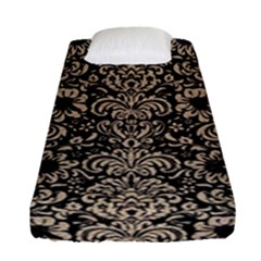 Damask2 Black Marble & Sand (r) Fitted Sheet (single Size) by trendistuff