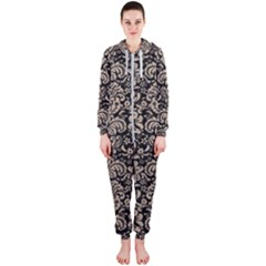Damask2 Black Marble & Sand (r) Hooded Jumpsuit (ladies)