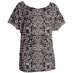 Damask2 Black Marble & Sand (r) Women s Oversized Tee