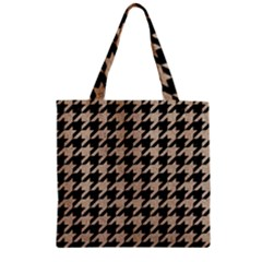 Houndstooth1 Black Marble & Sand Zipper Grocery Tote Bag by trendistuff