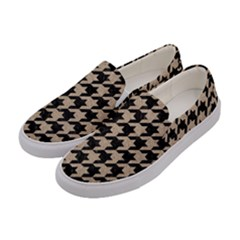 Houndstooth1 Black Marble & Sand Women s Canvas Slip Ons by trendistuff
