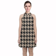 Houndstooth1 Black Marble & Sand Velvet Halter Neckline Dress  by trendistuff