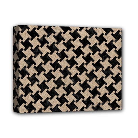 Houndstooth2 Black Marble & Sand Deluxe Canvas 14  X 11  by trendistuff