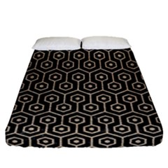 Hexagon1 Black Marble & Sand (r) Fitted Sheet (queen Size) by trendistuff