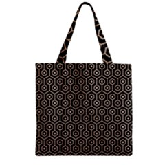 Hexagon1 Black Marble & Sand (r) Zipper Grocery Tote Bag by trendistuff
