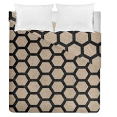 Hexagon2 Black Marble & Sand Duvet Cover Double Side (queen Size) by trendistuff