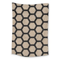 Hexagon2 Black Marble & Sand Large Tapestry by trendistuff