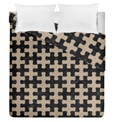 Puzzle1 Black Marble & Sand Duvet Cover Double Side (queen Size)