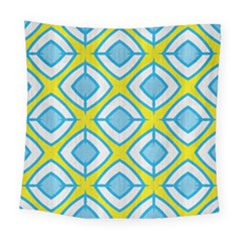 Blue Rhombus Pattern                               Square Tapestry by LalyLauraFLM