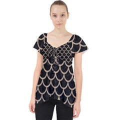 Scales1 Black Marble & Sand (r) Lace Front Dolly Top