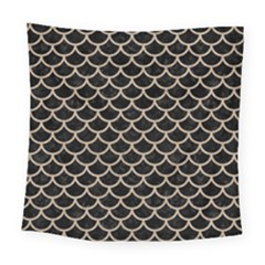 Scales1 Black Marble & Sand (r) Square Tapestry (large) by trendistuff