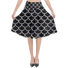Scales1 Black Marble & Sand (r) Flared Midi Skirt by trendistuff