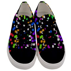 Colorful Rectangles On A Black Background                           Men s Low Top Canvas Sneakers